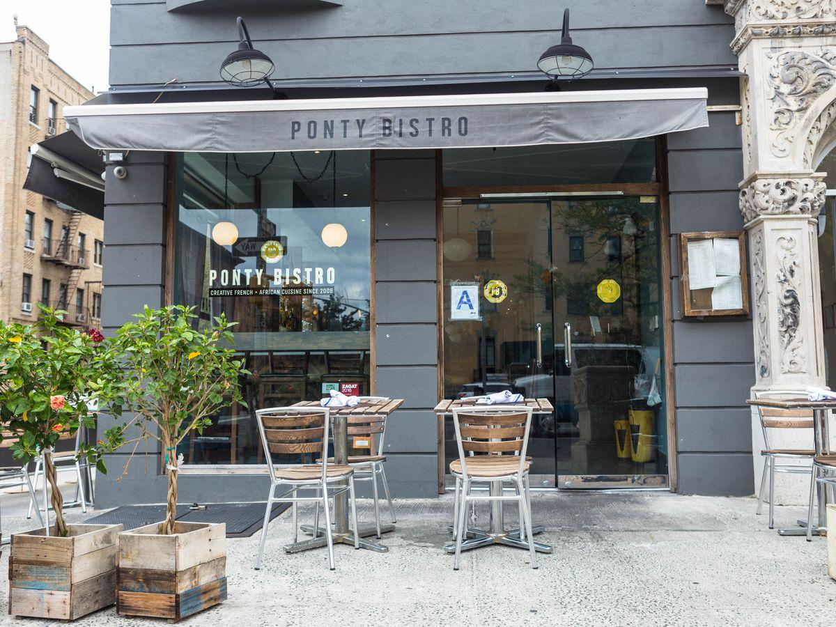 The grey exterior of Ponty Bistro
