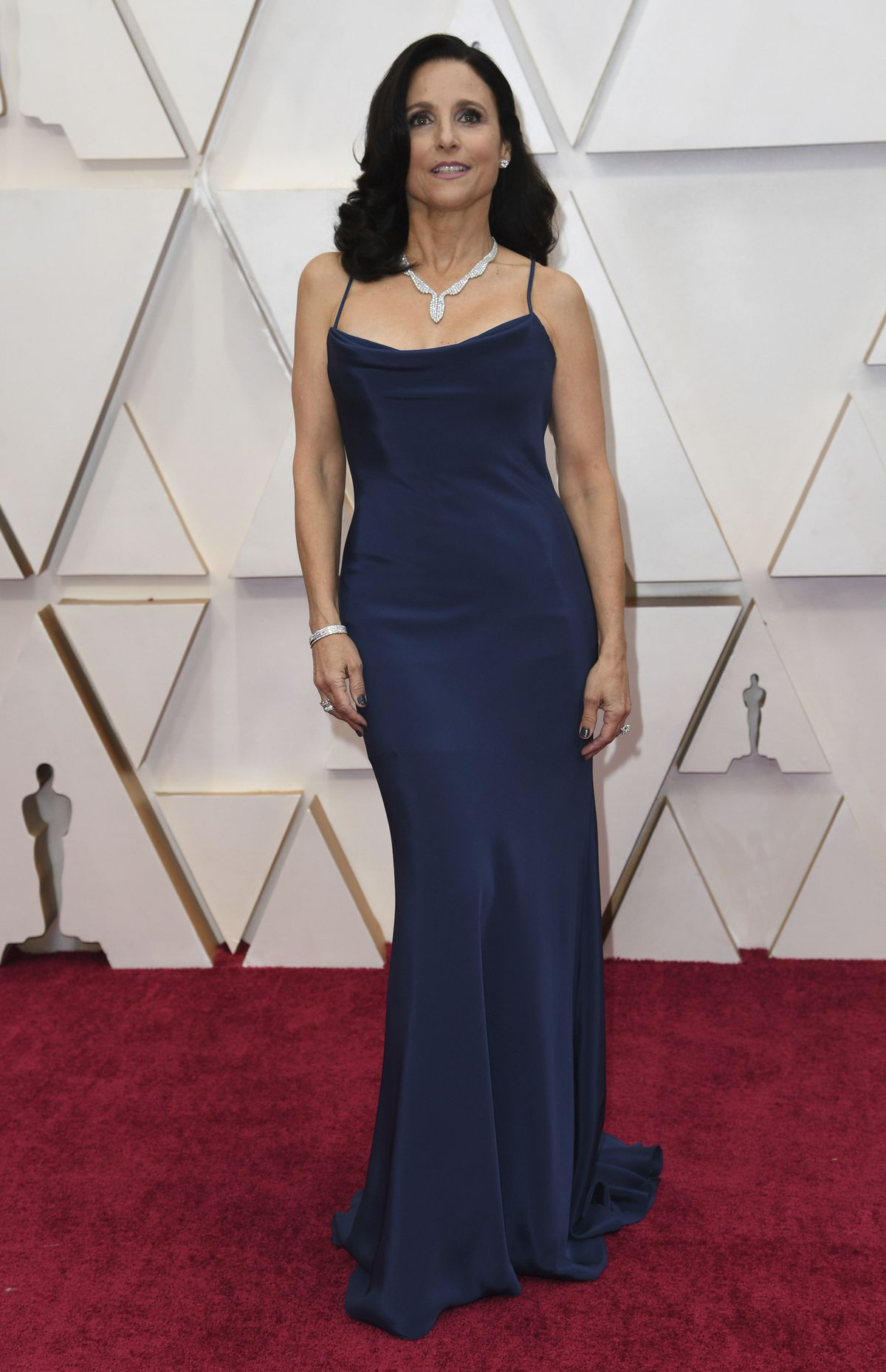 Julia Louis-Dreyfus wears Vera Wang couture on the Oscars red carpet.