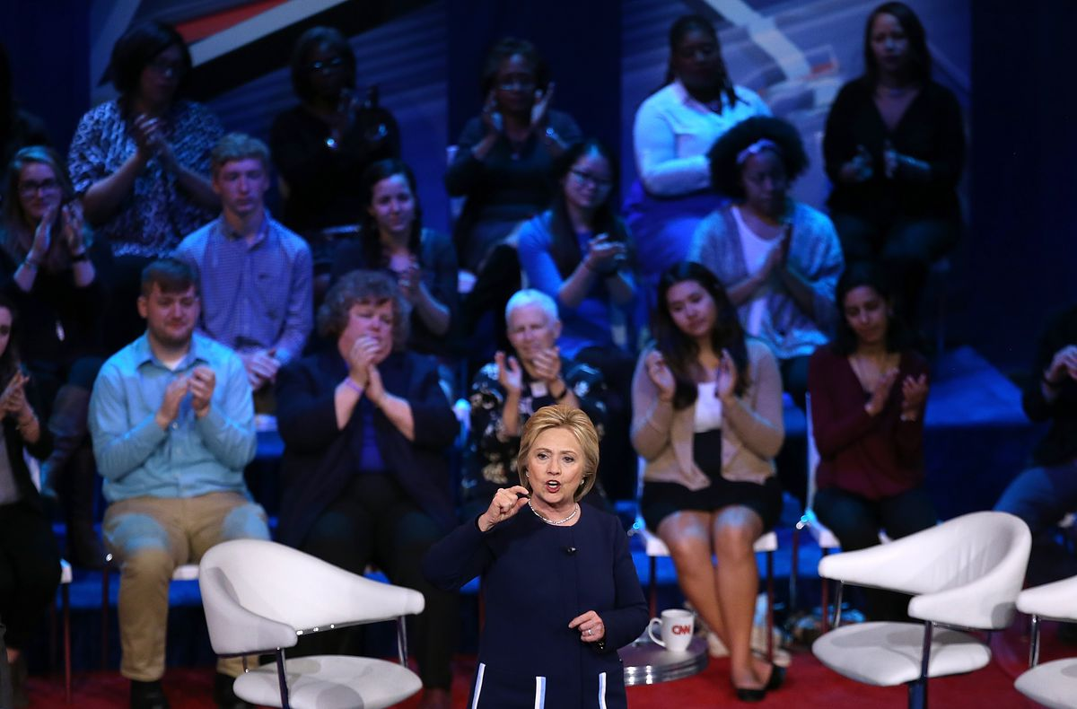 Clinton at a forum in Ohio on Sunday.