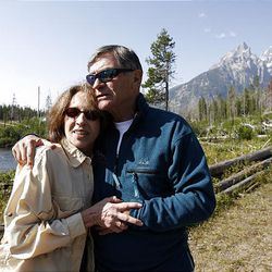 Ted Wilson hugs Lorrie Hough McCoy, one of the two people he helped rescue in 1967 from the North Face of the Grand Teton.