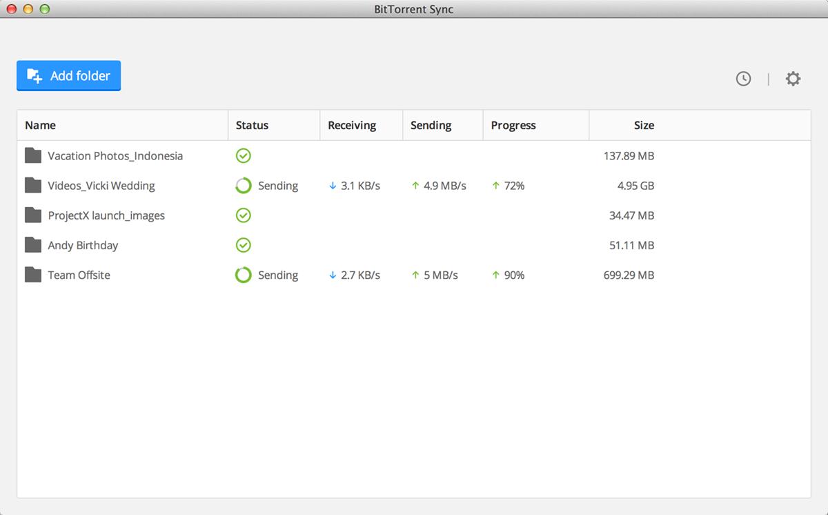 BitTorrent Sync 1.4 Screenshot