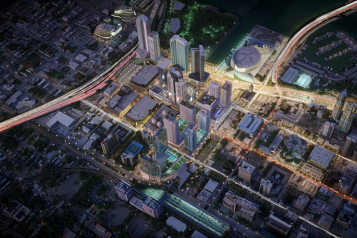 A new aerial rendering of Paramount Miami Worldcenter at night