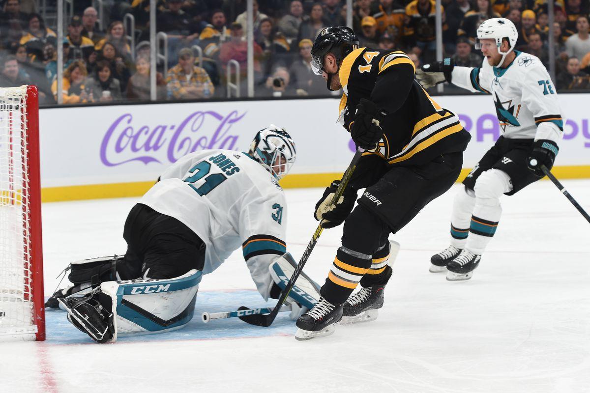 Chris Wagner #14 of the Boston Bruins scores against Martin Jones #31 of the San Jose Sharks at the TD Garden on October 29, 2019 in Boston, Massachusetts.
