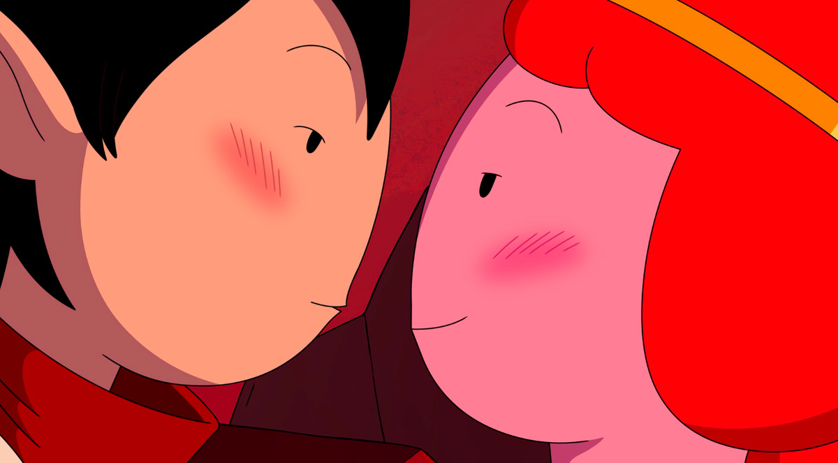 A blushing Marceline and Princess Bubblegum prepare to kiss in Distant Lands - Obsidian