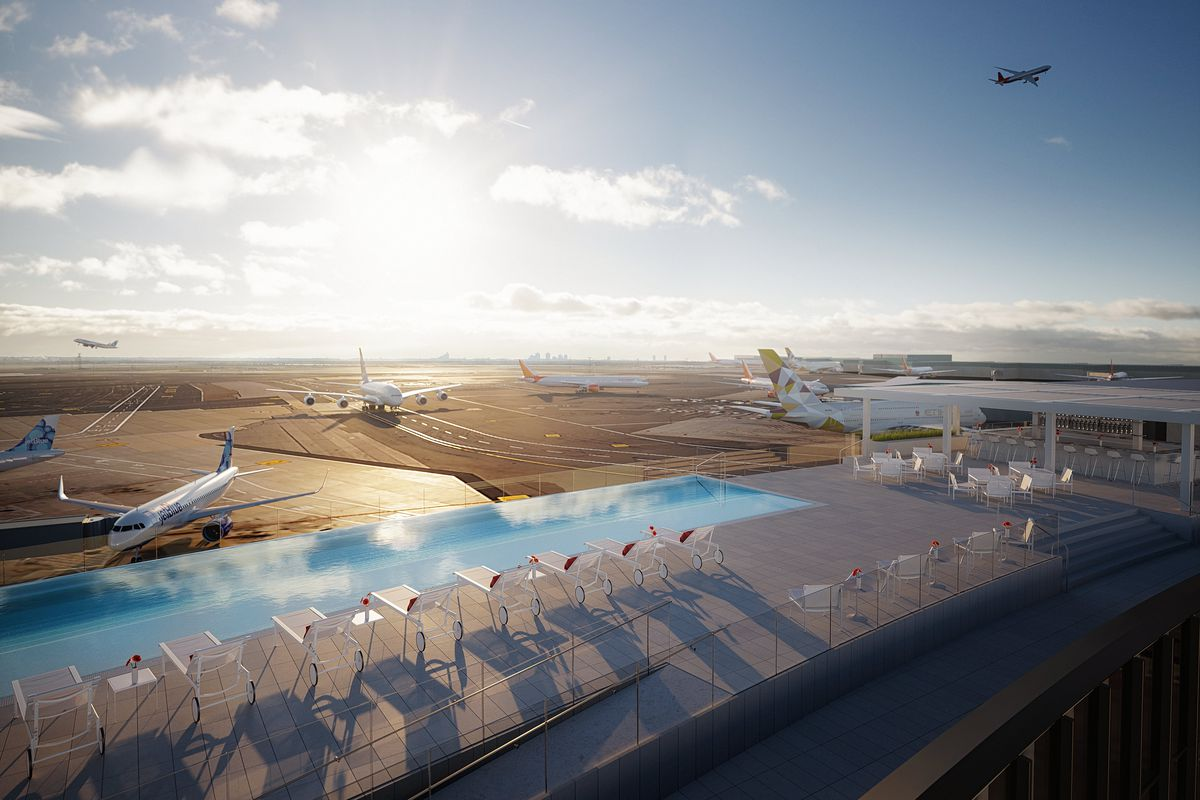 First look at the TWA Hotel's rooftop infinity pool with runway