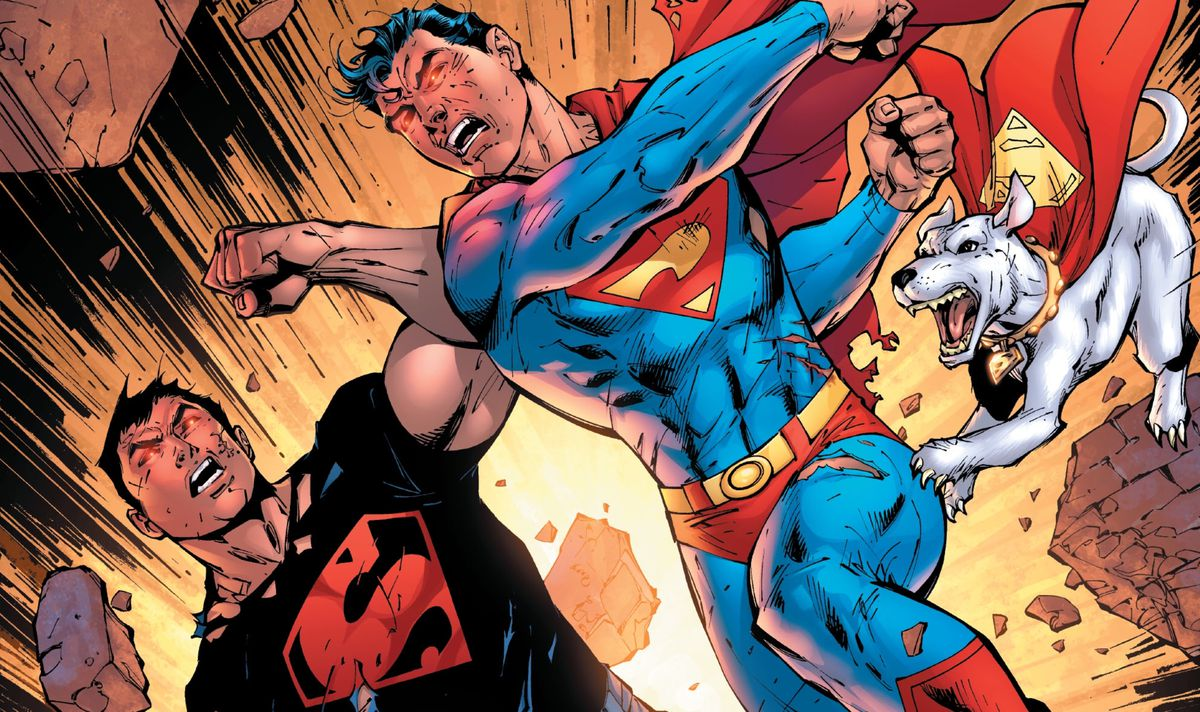 Superboy-Prime slugs Connor Kent/Superboy a good one, while Krypto snarls, on the cover of Infinite Crisis #4, DC Comics (2006).