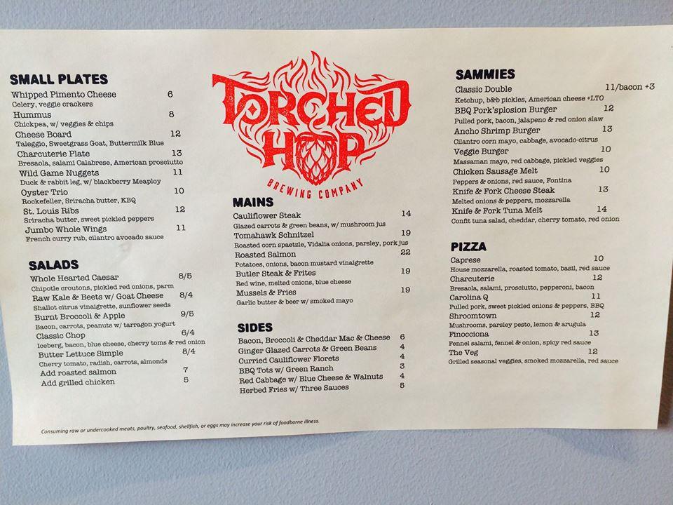 Torched Hop menu