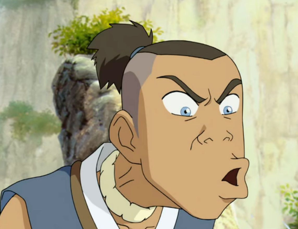 Sokka makes an exaggerate face, in Avatar: The Last Airbender.
