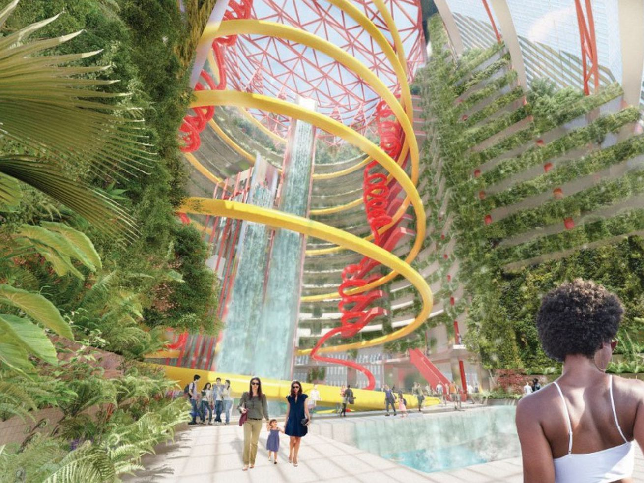 Artwork from a proposal by Perkins & Will staffers that imagines the Thompson Center with an indoor waterpark and monumental waterfalls.