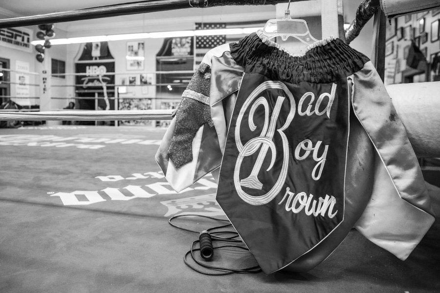 Ed Brown's boxing trunks are hanging on the boxing ring he used to train at Garfield Park boxing gym.