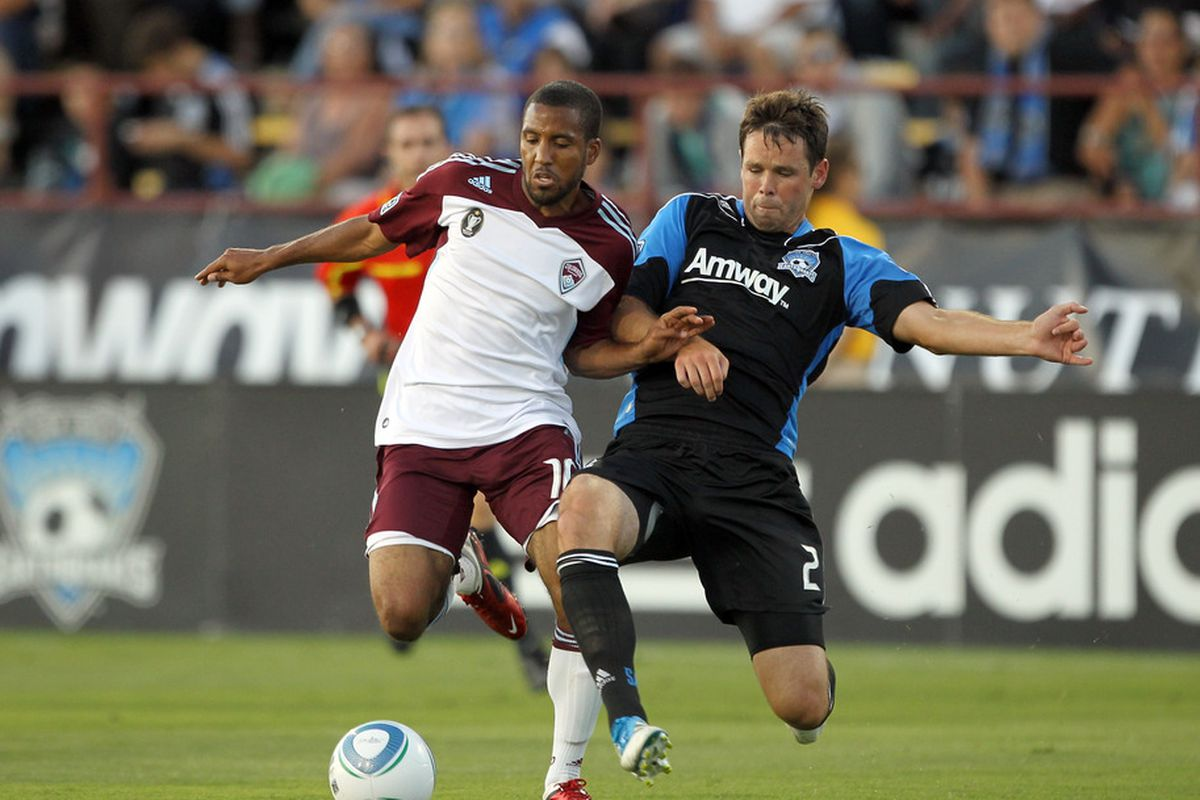 SANTA CLARA, CA - AUGUST 13:  Ross LaBauex #16 of the Colorado Rapids and Bobby Burling #2 of the San Jose Earthquakes go for the ball at Buck Shaw Stadium on August 13, 2011 in Santa Clara, California.  (Photo by Ezra Shaw/Getty Images)