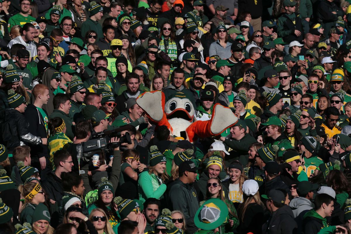Oregon's mascot crowd surfing after the Ducks beat in-state rival Oregon State