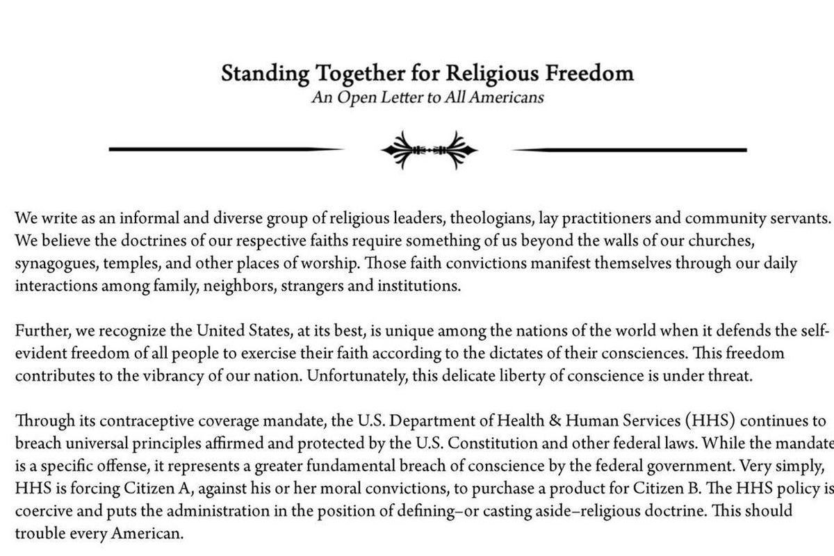 """A diverse coalition of religious leaders signed an open letter to the Obama administration titled """"Standing Together for Religious Freedom."""""""