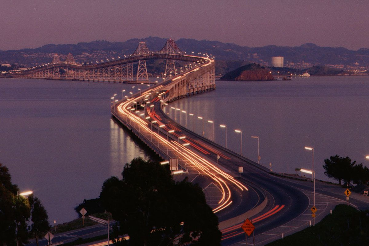 The Richmond-San Rafael bridge at dusk.