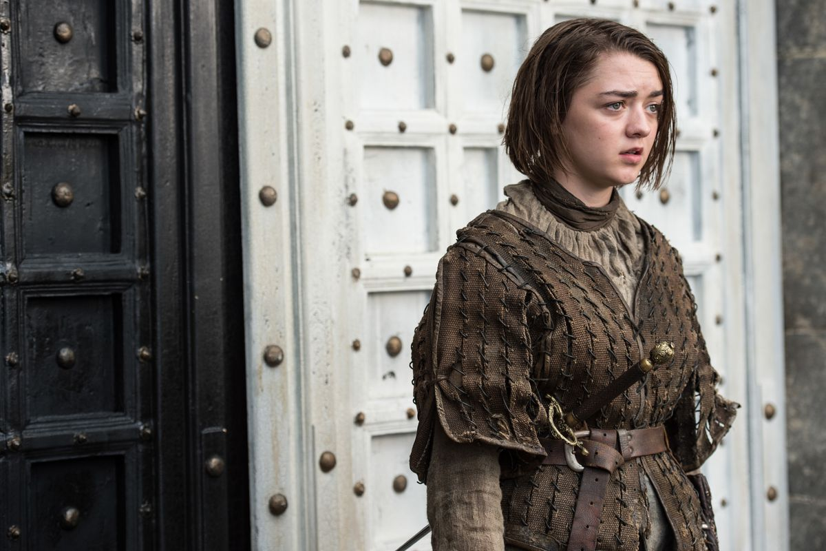 Arya (Maisie Williams) hangs out at the House of Black and White, which has a great set.
