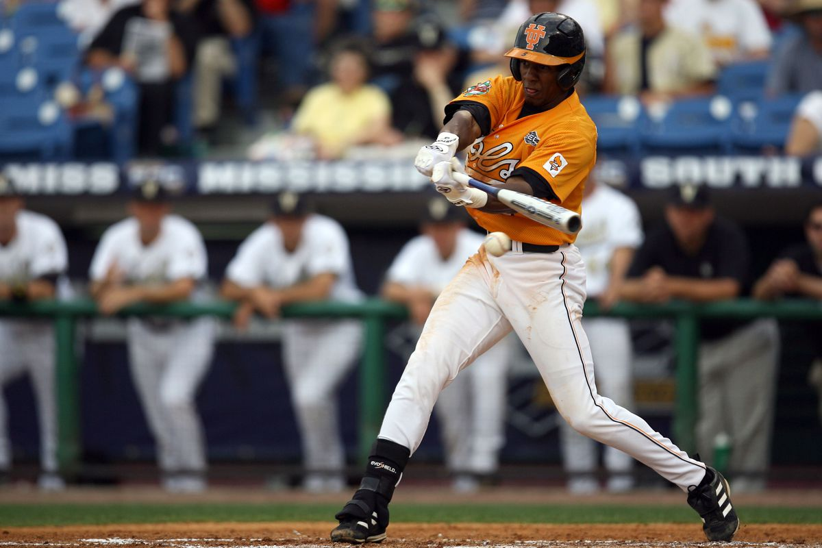 Tennessee made the SEC tournament in Hoover, AL for the first time since 2007.  That team featured future pros Julio Borbon (above), J.P. Arencibia, and Yan Gomes.