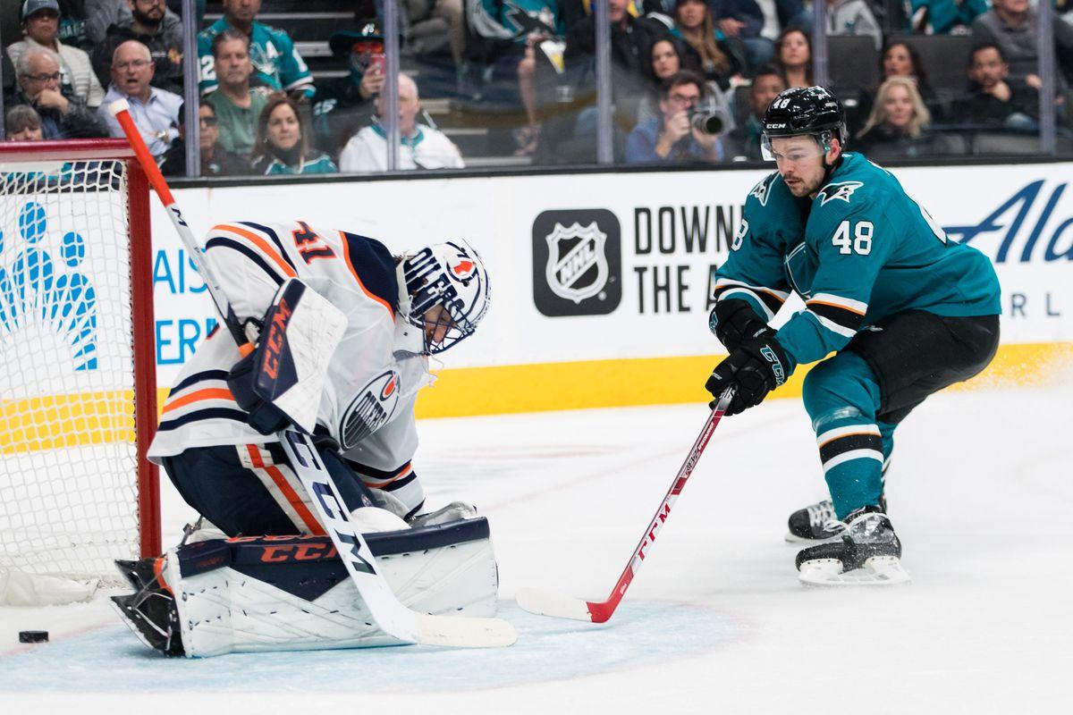 Nov 12, 2019; San Jose, CA, USA; San Jose Sharks center Tomas Hertl (48) shoots and scores a goal against Edmonton Oilers goaltender Mike Smith (41) in the second period at SAP Center at San Jose.
