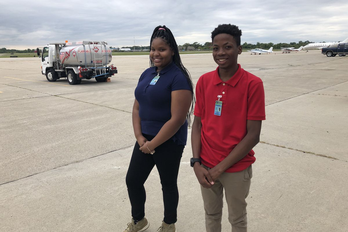 Kimberly Pruitt and Jeramiah Simpson are among the first Detroit students to take classes at the municipal airport since 2013.