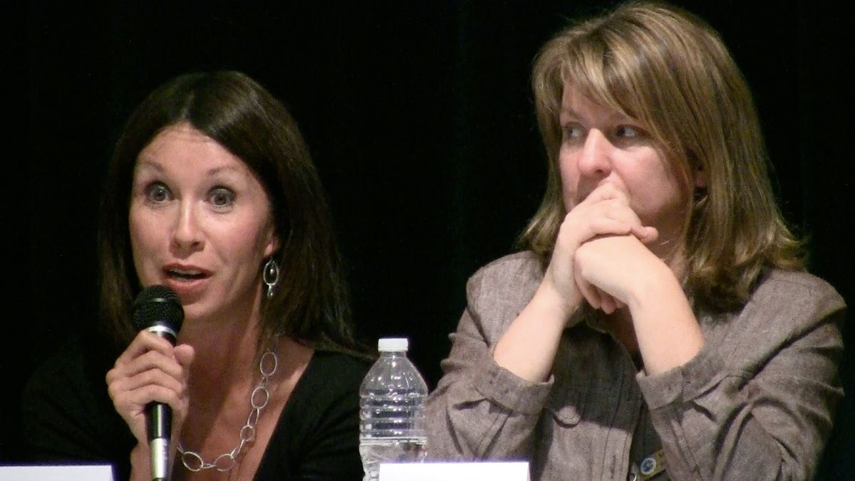 DPS board members Theresa Pena, left, and Mary Seawell respond to MOP's proposals for reform.