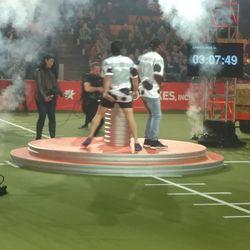 JJ Nunes and Stefon Diggs celebrating their Farm Bowl victory.
