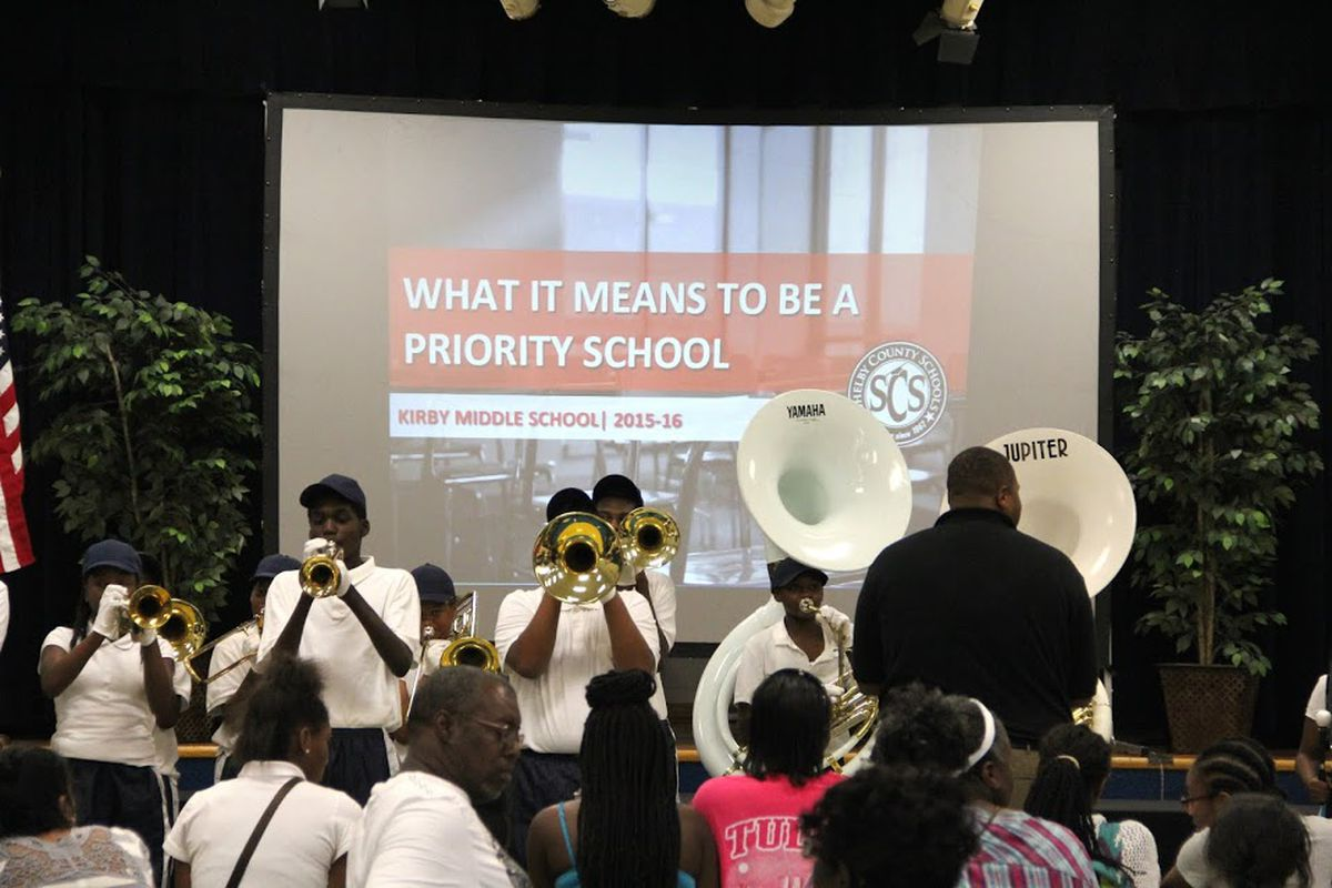 Kirby Middle School parents, students and supporters learn what it means to be a priority school, including eligibility to be removed by the state from local district control, during a community meeting organized in August by Shelby County Schools.
