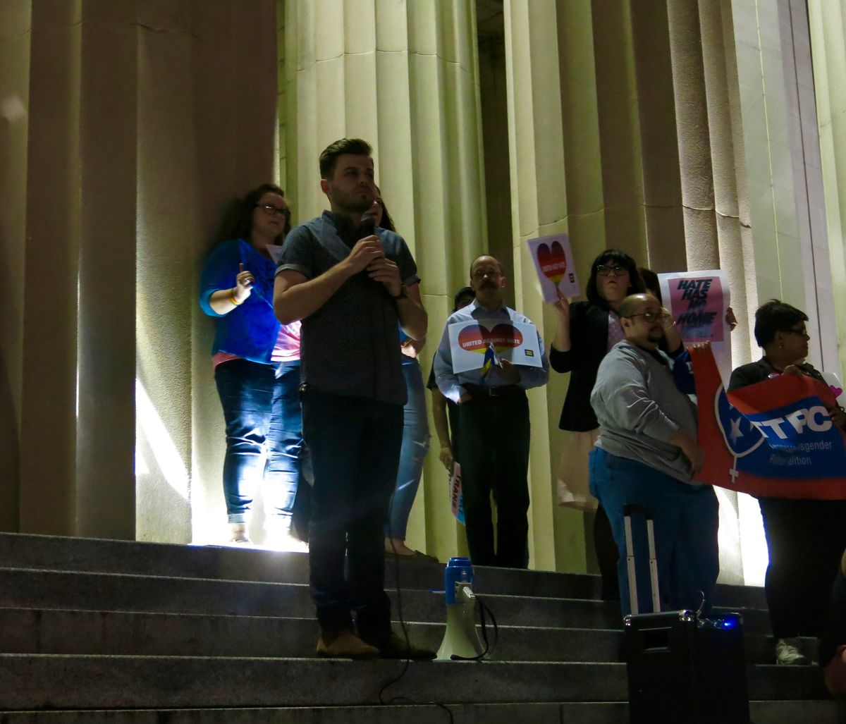Nashville teacher Westlee Walker speaks in support of his transgender students at a rally last Friday by the state Capitol in Nashville.