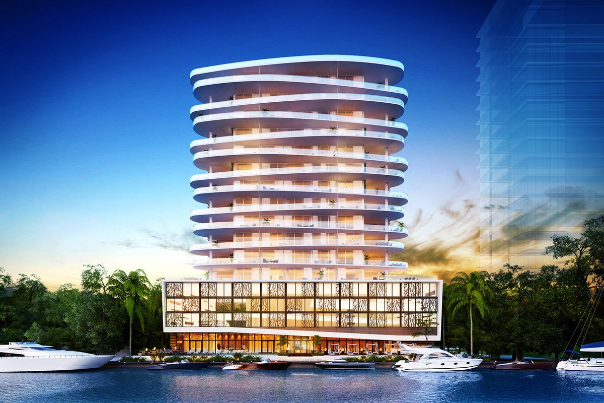 Exterior rendering of a new waterfront development in fort lauderdale