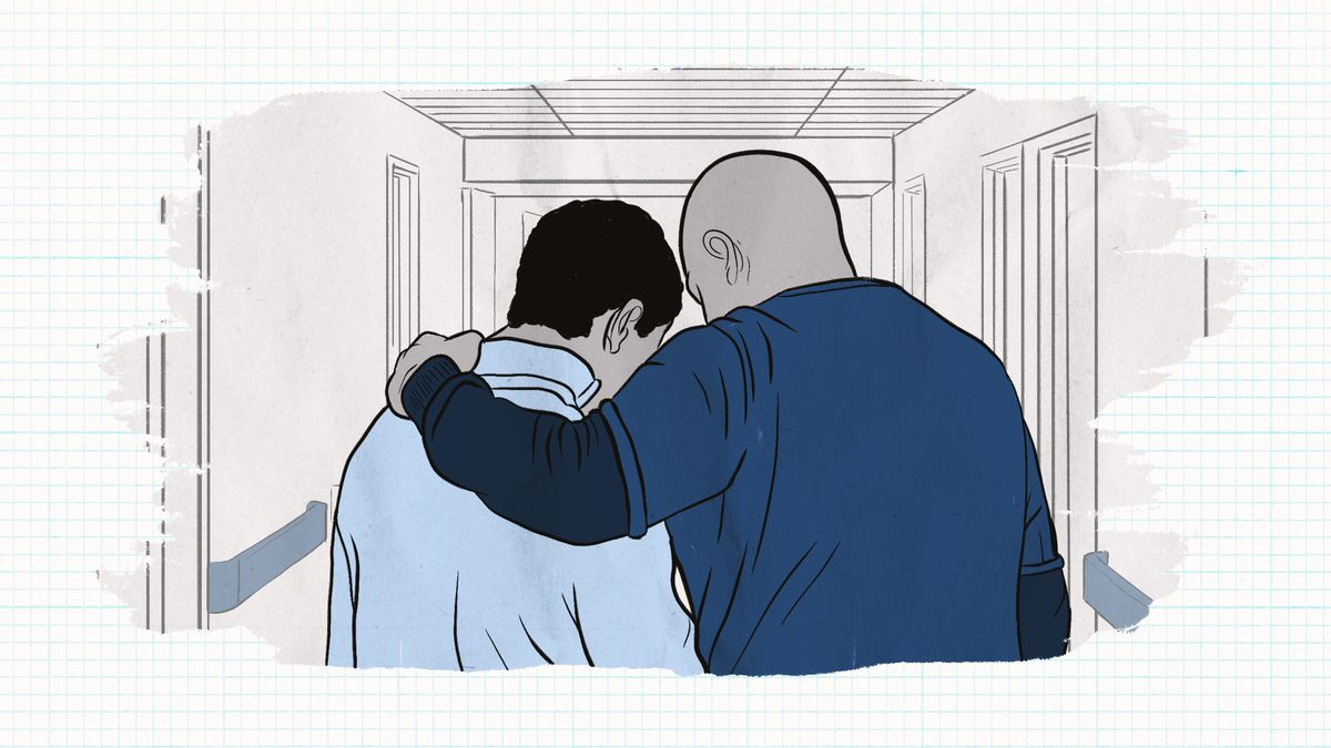 An illustration of a doctor comforting a teen as they walk down a hospital hallway.