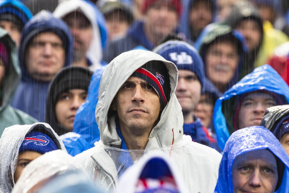 A Buffalo Bills fan watches game action during the second quarter against the New York Jets at New Era Field on December 29, 2019 in Orchard Park, New York.