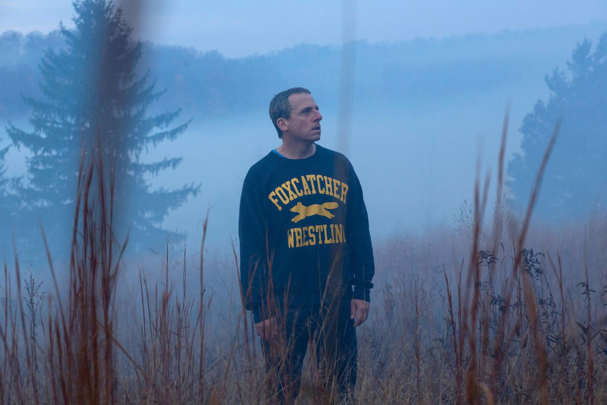 carell stands in a field in the mist