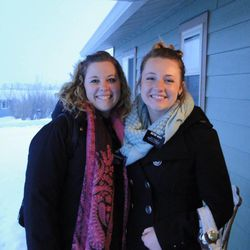 Sister Elizabeth Pattulo, 22, of Newberg, Ore., and her companion, Sister Danielle Ward, 19, of West Jordan, Utah, on a cold winter day in Bozeman, Mont.