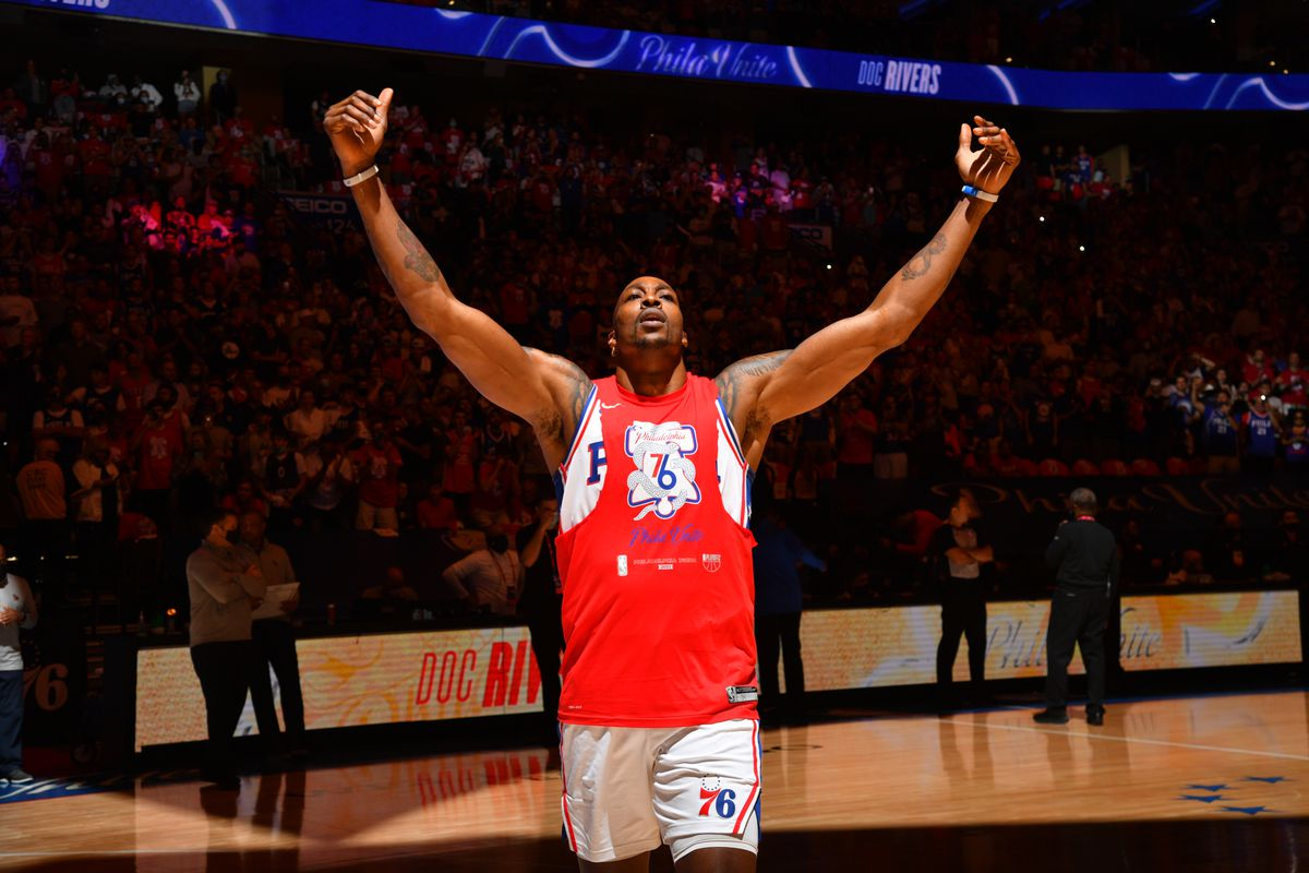 Dwight Howard #39 of the Philadelphia 76ers reacts during Round 2, Game 7 of the Eastern Conference Playoffs on June 20, 2021 at Wells Fargo Center in Philadelphia, Pennsylvania.