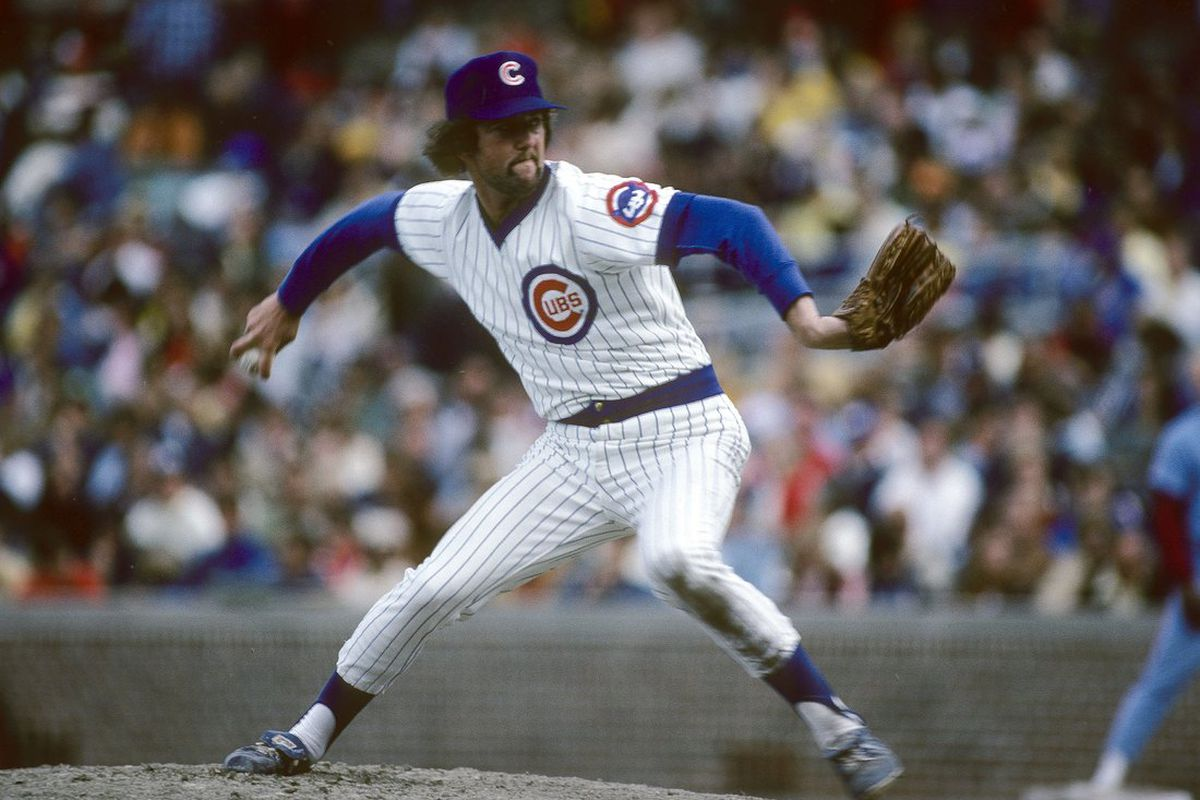 Pitcher Bruce Sutter of the Chicago Cubs pitches in a Major League Baseball game at Wrigley Field in Chicago, Illinois. Sutter played for the Cubs from 1976-80. (Focus on Sport/Getty Images Sport)