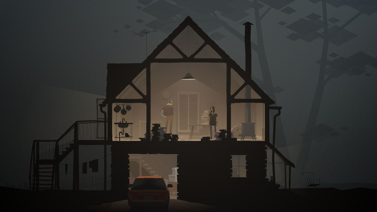 Characters walk around a house from an exterior point of view