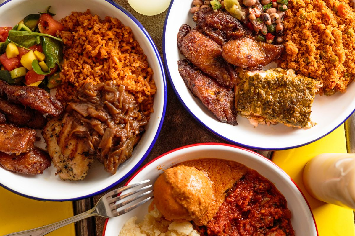 Clockwise, from top left: Chicken yassa with plantains, Moroccan salmon with jollof fonio, fufu with peanut sauce; all sit in white bowls over a yellow tablecloth