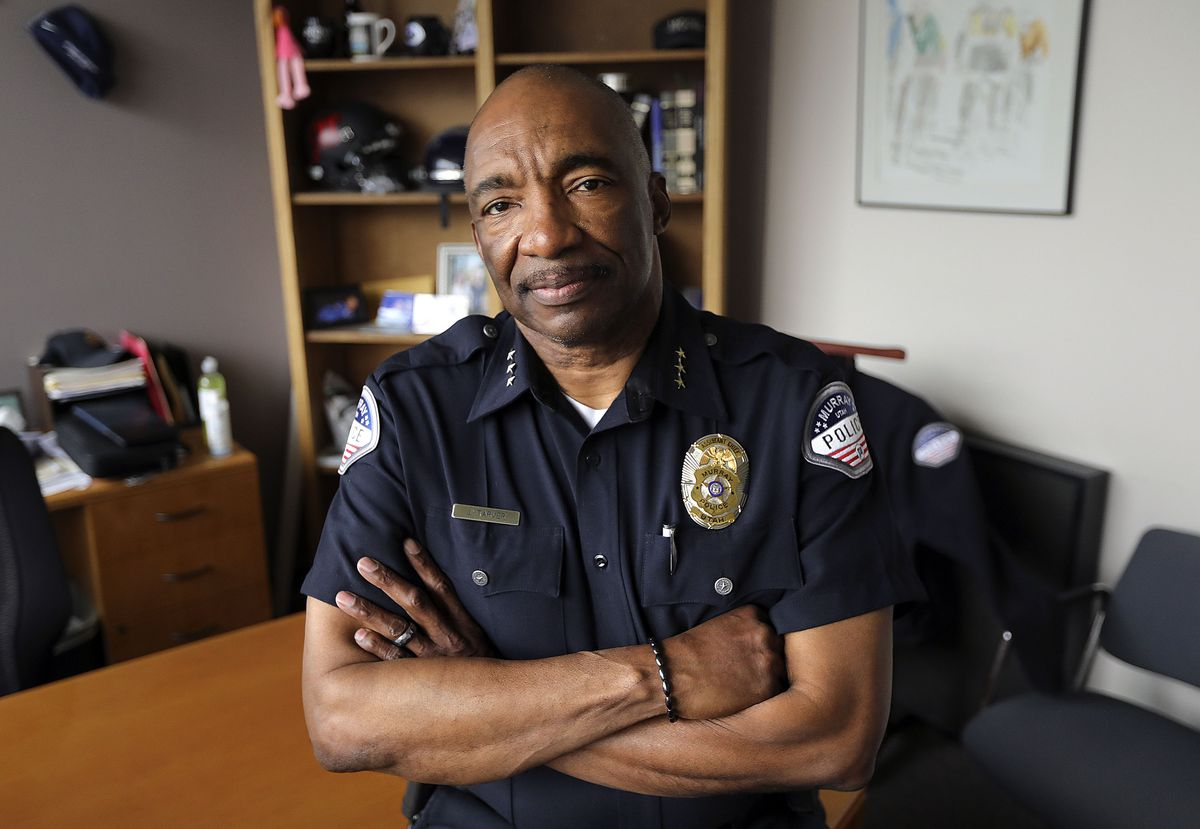 Murray Assistant Police Chief Joe Tarver poses for a portrait in his office in Murray on Tuesday, April 13, 2021. Tarver is leaving the department to become chief of investigations for the Salt Lake County District Attorney's Office.