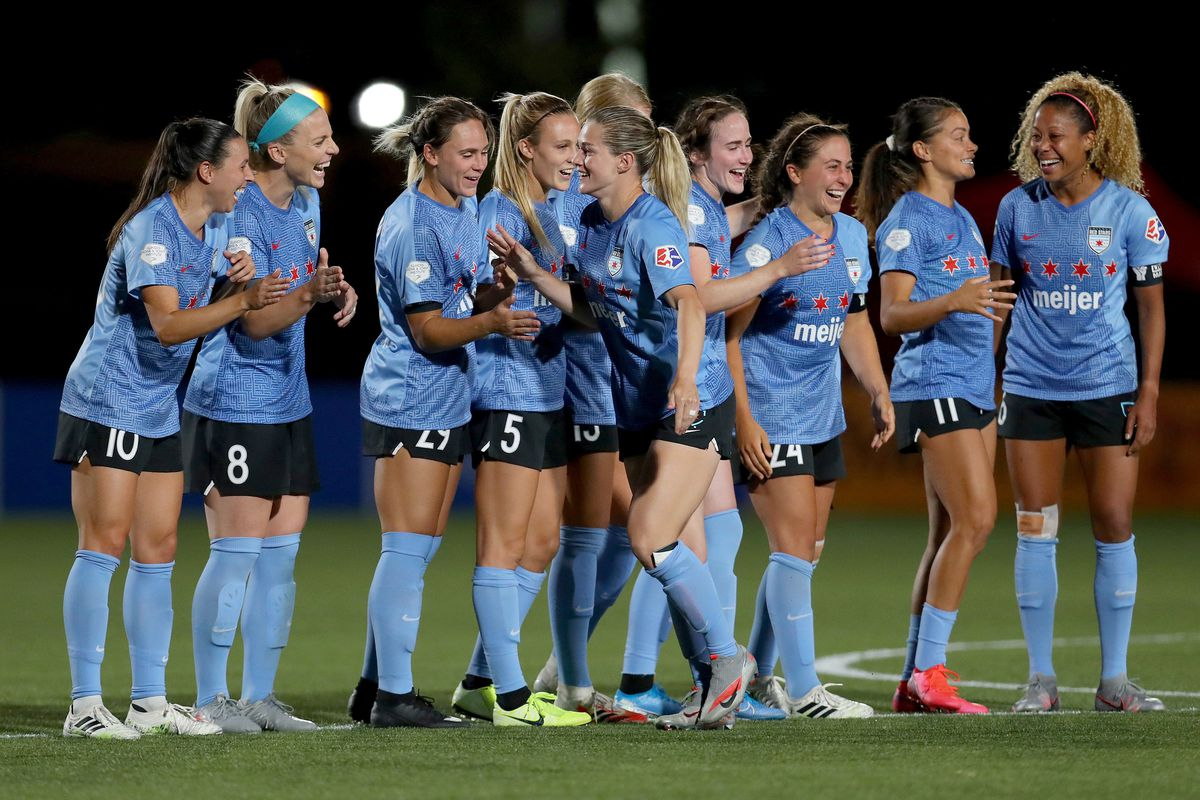 Kealia Watt (No. 2) of Red Stars celebrates with her teammates after scoring a penalty kick against the OL Reign FC in the quarterfinal match of the NWSL Challenge Cup.