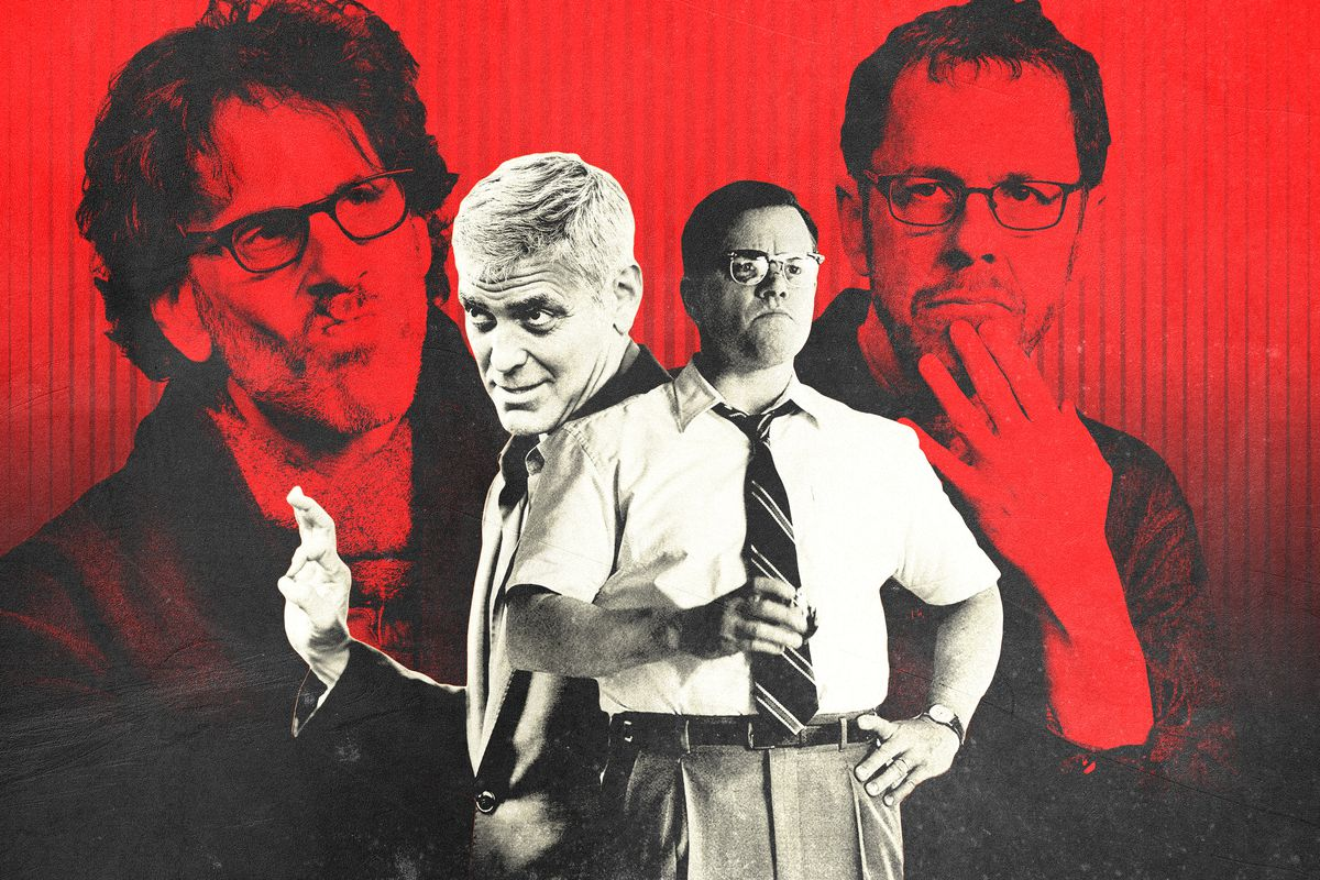 The Coen brothers looming behind George Clooney and Matt Damon