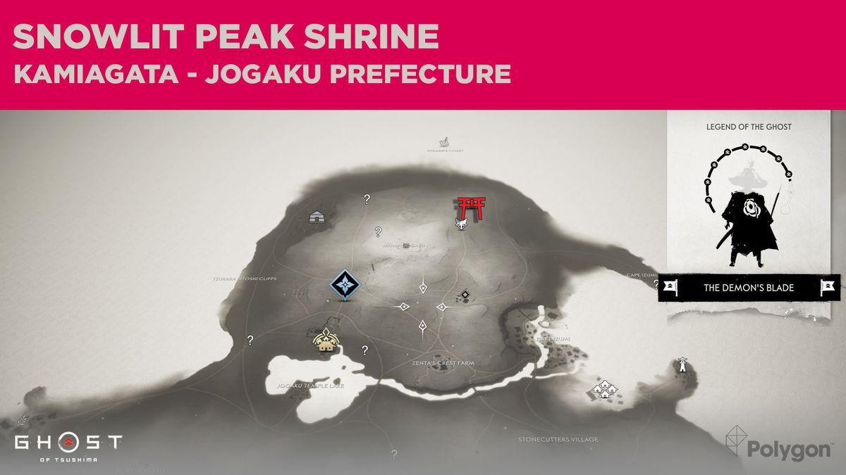 The location of Snowlit Peak Shrine in Ghost of Tsushima
