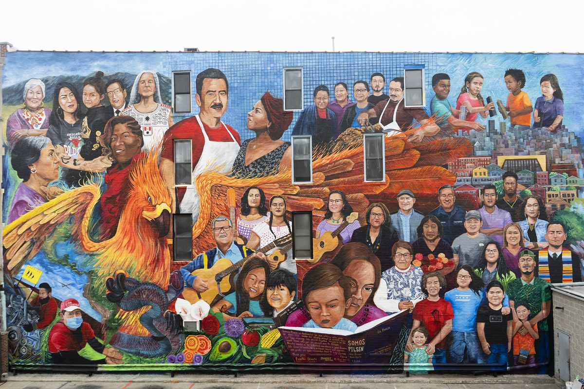 """The mural """"Somos Pilsen"""" was completed earlier this year at Carnitas Don Pedro restaurant, 1113 W. 18th St. It showcases dozens of people tied to Pilsen — and offers a statement on the gentrification that's increasing rents and forcing some long-time residents and businesses to leave the largely Mexican American neighborhood."""