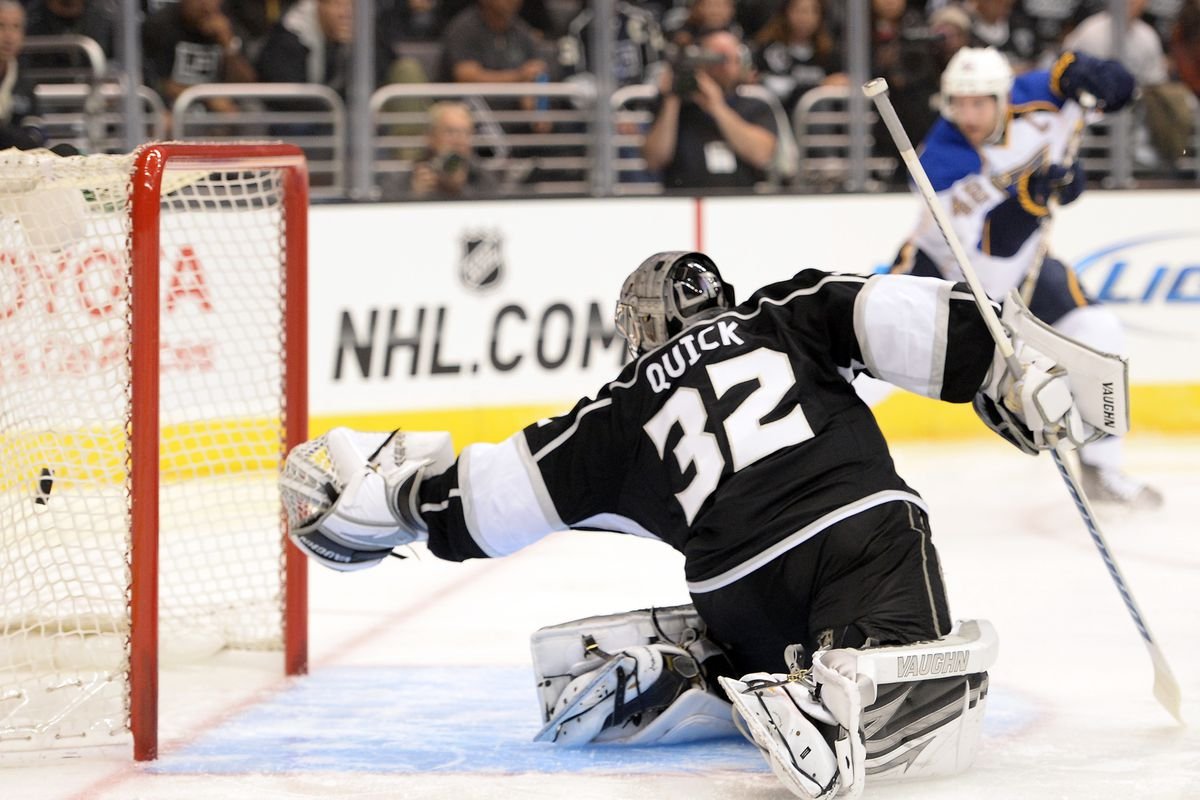 David Backes has your number, Jonathan Quick. Wait, Ben Scrivens is in? Son of a...