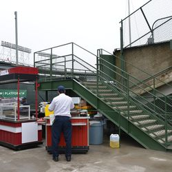 11:35 a.m. The new stairs leading to the upper center field bleachers, with hot dog cart located next to it -