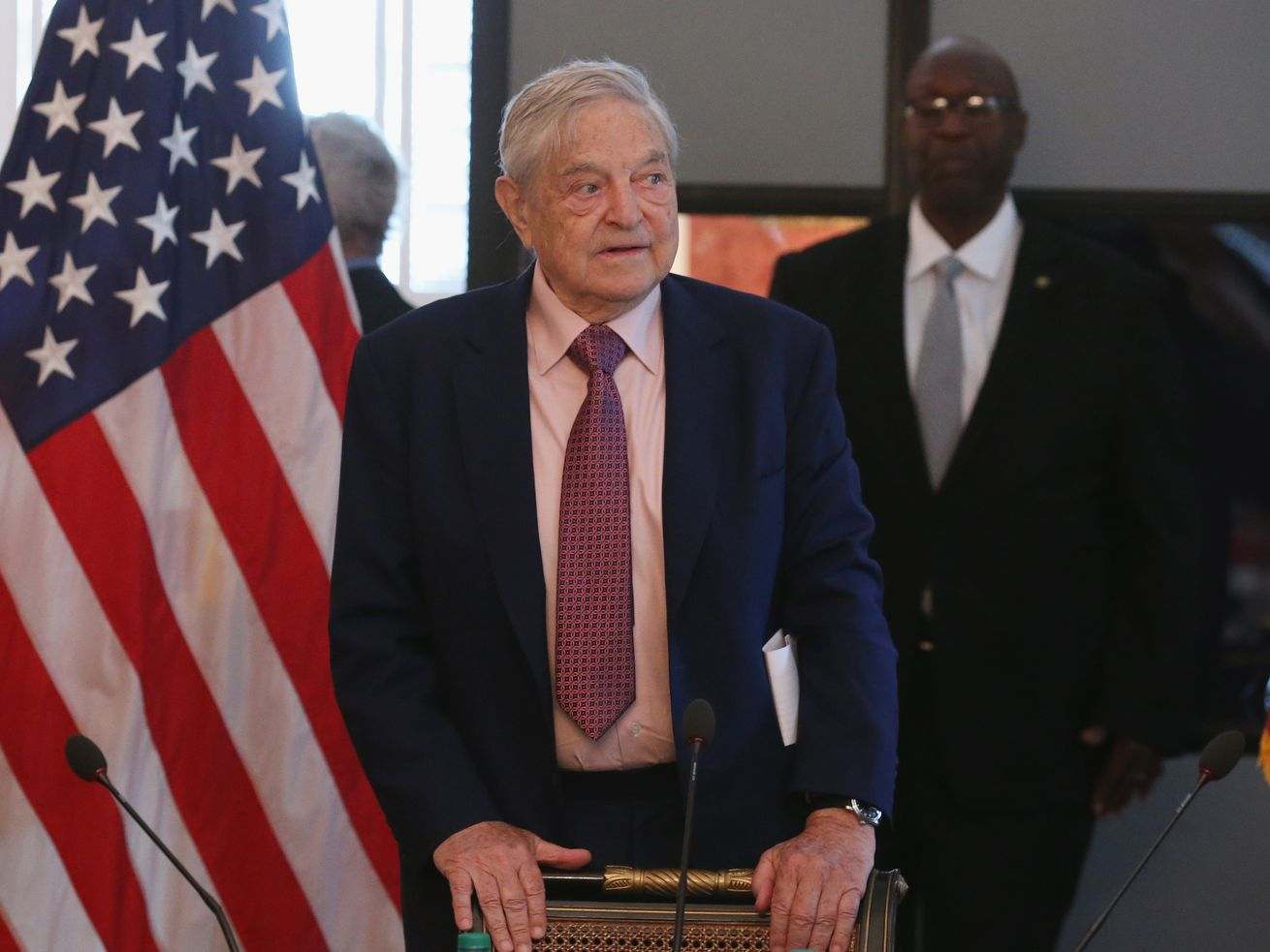 Billionaire investor and philanthropist George Soros speaks at an event in Washington, DC, in May 2015.