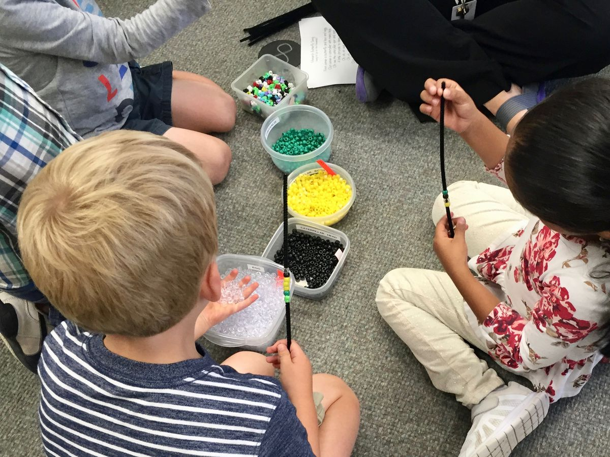 Students create bracelets to remind them of the lifecycle of a butterfly.