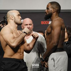 Ilir Latifi and Corey Anderson square off at UFC 232 weigh-ins.