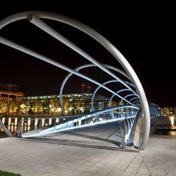 """<b>The Yards Park,</b> <em>Washington, D.C.:</em> With an iconic bridge, boardwalk, water feature, and water view, the futuristic new <a href=""""http://www.yardspark.org/hold/locations"""">Yards Park</a> can be rented out for events. [<a href=""""https://www.face"""