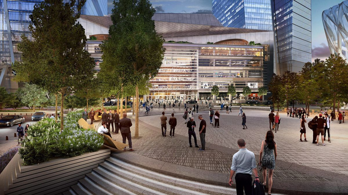 A rendering of The Shops from the public plaza