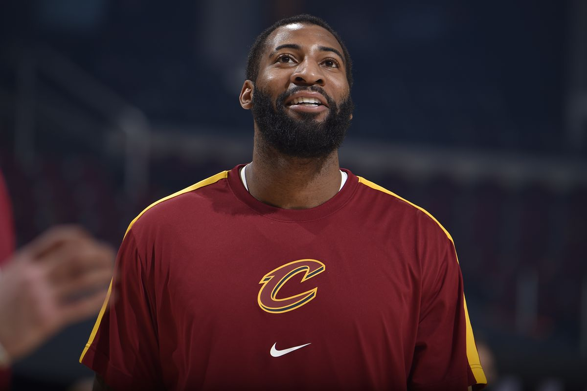Andre Drummond of the Cleveland Cavaliers smiles prior to the game against the LA Clippers on February 3, 2021 at Rocket Mortgage FieldHouse in Cleveland, Ohio.