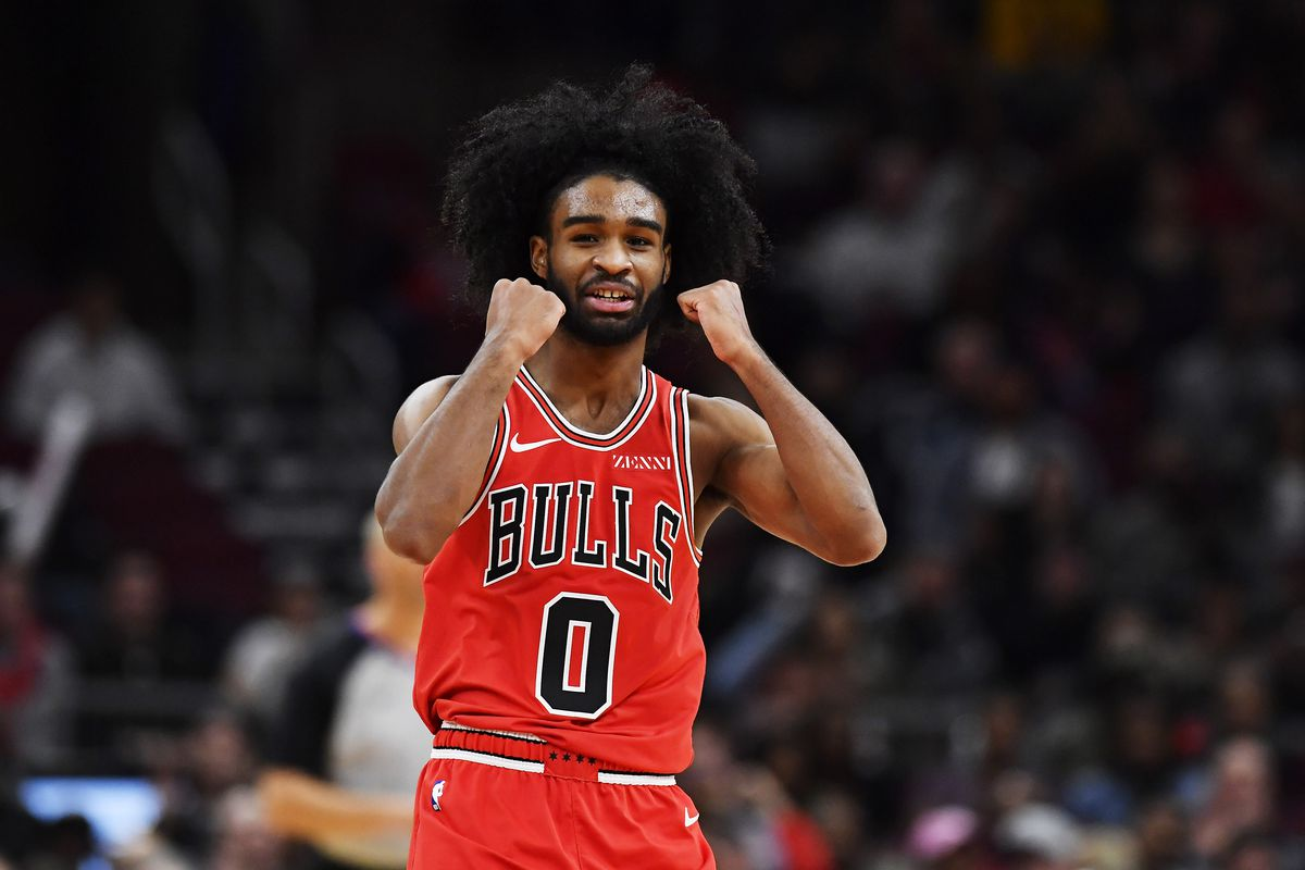 Chicago Bulls guard Coby White reacts after scoring against the Atlanta Hawks in the second half at United Center.