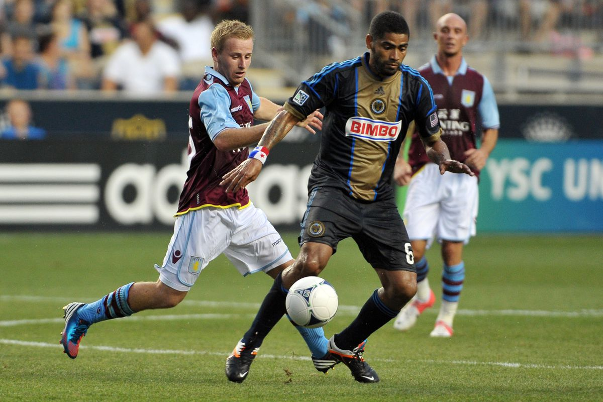 CHESTER, PA- JULY 18: Gabriel Gomez #6 of the Philadelphia Union controls the ball in front of Barry Bannan #25 of Aston Villa at PPL Park on July 18, 2012 in Chester, Pennsylvania. Aston Villa won 1-0. (Photo by Drew Hallowell/Getty Images)